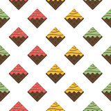 Colorful seamless pattern. Chocolate waffles with glaze and spri Stock Photography