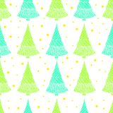 Colorful seamless pattern with Christmas trees and stars. Doodle style. Festive forest magic background. Vector hand drawn illustration cartoon wallpaper Stock Photos