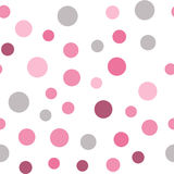 Colorful seamless pattern with circles, confetti. Pink and grey girl kids palette. Fashion style for prints, batik and silk textil Stock Photos