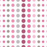 Colorful seamless pattern with circles, confetti. Pink and grey girl kids palette. Fashion style for prints, batik and silk textil Royalty Free Stock Photography