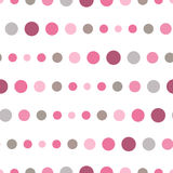 Colorful seamless pattern with circles, confetti. Pink and grey girl kids palette. Fashion style for prints, batik and silk textil Royalty Free Stock Images