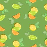 Colorful seamless pattern with citrus slices on green background. Vector illustration. Colorful  seamless background with slices of orange, lime, lemon Stock Image