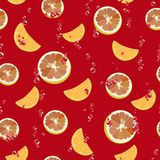 Colorful seamless pattern with citrus slices on red background. Vector. Colorful  seamless background with slices of orange, lemon and air bubbles on red Stock Images
