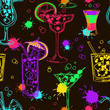 Colorful seamless pattern of cocktails Royalty Free Stock Images