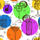Colorful seamless pattern of cocktails Stock Photos