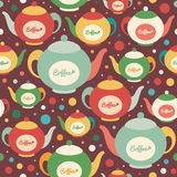 Colorful seamless pattern with coffee kettles and circles. Royalty Free Stock Photo