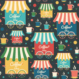 Colorful seamless pattern with coffee shops and cups. Royalty Free Stock Images