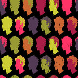 Colorful seamless pattern with colorful people Royalty Free Stock Images