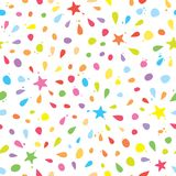 Colorful seamless pattern with confetti, stars and splashes. For birthday celebration. Vector. Illustration Stock Photo