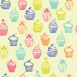 Colorful seamless pattern with cupcakes Stock Photo