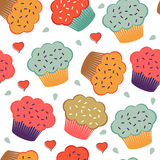 Colorful seamless pattern with cupcakes and hearts Royalty Free Stock Image