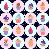 Colorful seamless pattern with cupcakes Stock Photos