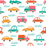 Colorful seamless pattern with cute cars and Stock Images