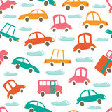 Colorful seamless pattern with cute cars and Stock Photos