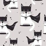 Colorful seamless pattern with cute cats, stars vector illustration