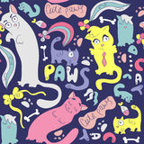 Colorful seamless pattern with cute cats Royalty Free Stock Photography