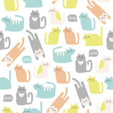 Colorful seamless pattern with cute cats Royalty Free Stock Images