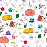 Colorful seamless pattern with cute doodles. Cat, fox, candle, tea, snow, forest elements Royalty Free Stock Images