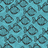 Colorful seamless pattern with cute fish. Sea life vector illustration Royalty Free Stock Photography