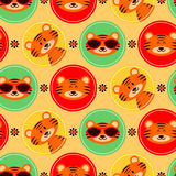 Colorful seamless pattern with cute tigers Stock Photo