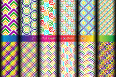 12 colorful seamless pattern. 12 colorful seamless pattern design. Vector graphic illustration Stock Photography