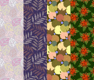 Colorful seamless pattern 4 designs in one set. Illustration of colorful leaf seamless pattern 4 designs in one set Vector Illustration