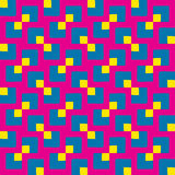 Colorful seamless pattern of different square shapes in blue, yellow and magenta shades Royalty Free Stock Image