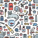 Colorful seamless pattern with domestic animals and tools for pet care, entertainment, grooming on white background. Vector illustration in line art style for vector illustration