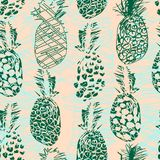 Colorful seamless pattern with doodle freehand drawn ananas. In sketch doodle style. Tropical citrus collection. Perfect for baby textile, wallpaper, wrapping stock illustration