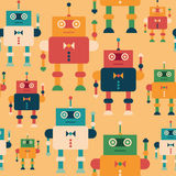 Colorful seamless pattern with elegant robots. Stock Photo