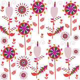 Colorful seamless pattern with fantasy flowers and seamless patt Stock Photography
