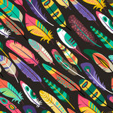 Colorful seamless pattern with feathers Royalty Free Stock Photo