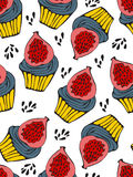 Colorful seamless pattern with fig cupcakes. Illustration in vector format Stock Photography