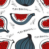 Colorful seamless pattern with figs Stock Photos