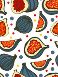 Colorful seamless pattern with figs. Royalty Free Stock Photos