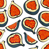 Colorful seamless pattern with figs Stock Photography
