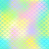 Colorful seamless pattern with fish scale net. Bright neon mermaid skin surface. Stock Photos