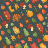 Colorful seamless pattern with flat geometric icons for Thanksgiving day on grey background Royalty Free Stock Photo
