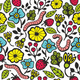 Colorful seamless pattern with flora and fauna in the garden. Vector illustration for endless wallpaper Royalty Free Stock Photos