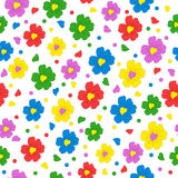 Colorful seamless, pattern  of flower with heart  Royalty Free Stock Photo