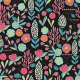 Colorful seamless pattern with flowers. On a black background. Vector Stock Photography