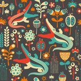 Colorful seamless pattern with flowers and crocodiles. Stock Photo
