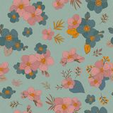 Colorful seamless pattern - flowers in vintage style, spring, ch. Seamless Wallpaper with floral ornament with leafs and flowers for vintage design. Vector Royalty Free Stock Images