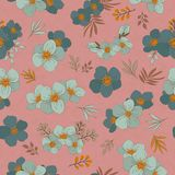 Colorful seamless pattern - flowers in vintage style, spring, ch. Seamless Wallpaper with floral ornament with leafs and flowers for vintage design. Vector Royalty Free Stock Photography