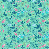 Colorful seamless pattern with forest elements. Leaves, pine tree branches and flowers on green background. Colorful seamless pattern with forest elements Stock Photos