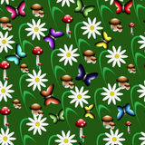 Colorful seamless pattern in the form of a forest clearing. Colorful seamless pattern consisting of fungi of flowers and butterflies Royalty Free Stock Photos