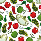 Colorful seamless pattern of fresh vegetables Royalty Free Stock Photos