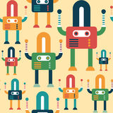 Colorful seamless pattern with friendly robots. Stock Photos