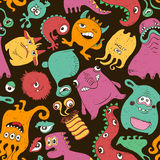 Colorful Seamless Pattern With Funny Monsters. Royalty Free Stock Image