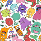Colorful Seamless Pattern With Funny Monsters. Royalty Free Stock Photo